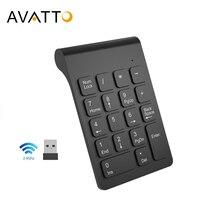 Avatto tamanho pequeno 2.4 ghz usb teclado numérico sem fio mini numpad 18 teclas teclado digital para caixas portátil notebook comprimidos