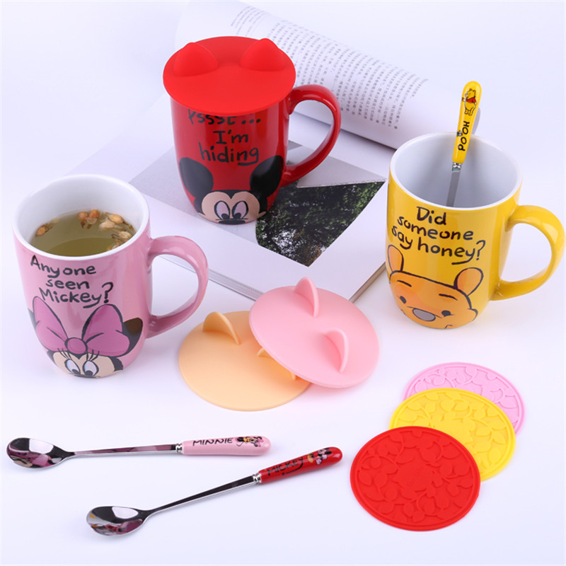 500mL Disney Mickey Minnie Pooh Cartoon Ceramic Water Cup Coffee Milk Tea Mug Home Office Collection Cups Women Girl Gifts