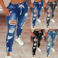 Шнурок джинсы для Для женщин рваные стрейч джинсовые женские размера плюс полной длины брюки-карандаш