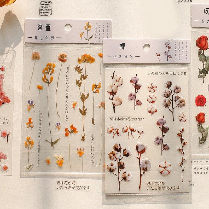 Mohamm 1 Sheets PET Flat Sticker Flower Series Rose Cherry Lavender Decorative Stationary Scrapbooking Gift Girl School Supplies