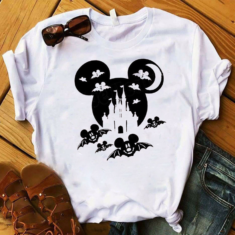 Micky Mouse Ear White Women's T-shirt Funny Halloween Tshirt Casual Short Sleeve Tee Shirt Femme Clothes Hipster Shirt Goth Top
