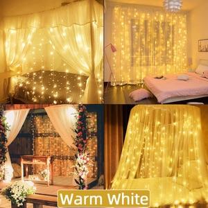 Image 5 - 3×3M Led Curtain Holiday Lights EU 220V Light Decoration Led Fairy Lights Light Curtain Wedding Lights New Year Garland