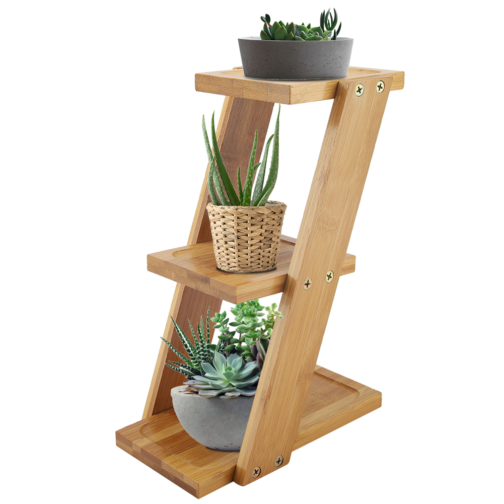 3Tier BambooWooden Plant Flower Floor Stand Shelves Rack Plant Flower Display Stand Shelf Storage Rack Outdoor Holder Garden