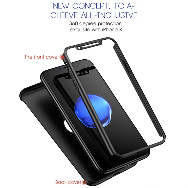 360 Degree Full Cover Phone Case For iPhone 11 Pro XS Max 7 8 5 6s PC Hard Shell Protective Case For iPhone 7 8 6 Plus X XR Case