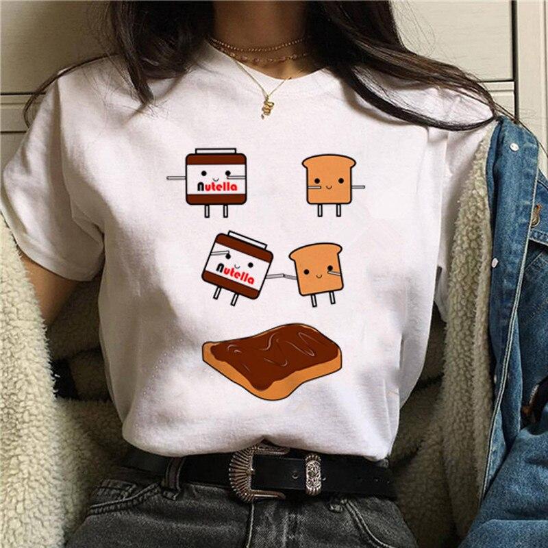 Nutella nadruk kawaii T koszula kobiety 90s Harajuku Ullzang moda koszulka graficzna śliczna koszulka kreskówka koreański stylowy top Tees kobieta 4