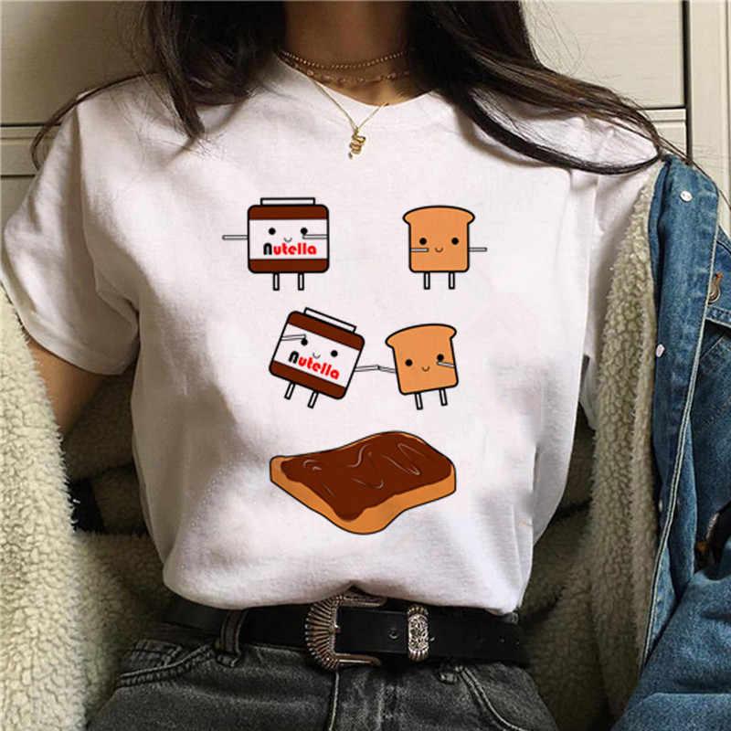Nutella Kawaii พิมพ์ T เสื้อผู้หญิง 90s Harajuku Ulzzang แฟชั่นเสื้อยืดกราฟิกน่ารักการ์ตูน TShirt เกาหลีสไตล์ TOP Tees หญิง