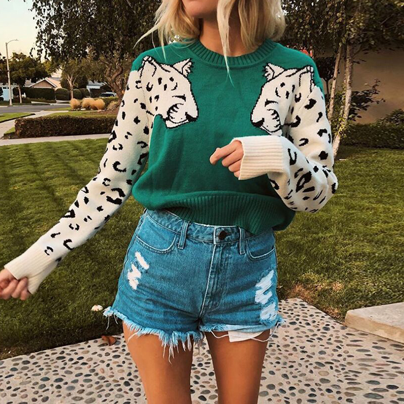 Green/Purple Women Jumper Clothing Tops Leopard Print Tops Sweaters Autumn Winter Long Sleeve Round Neck Casual Basic Knitwear