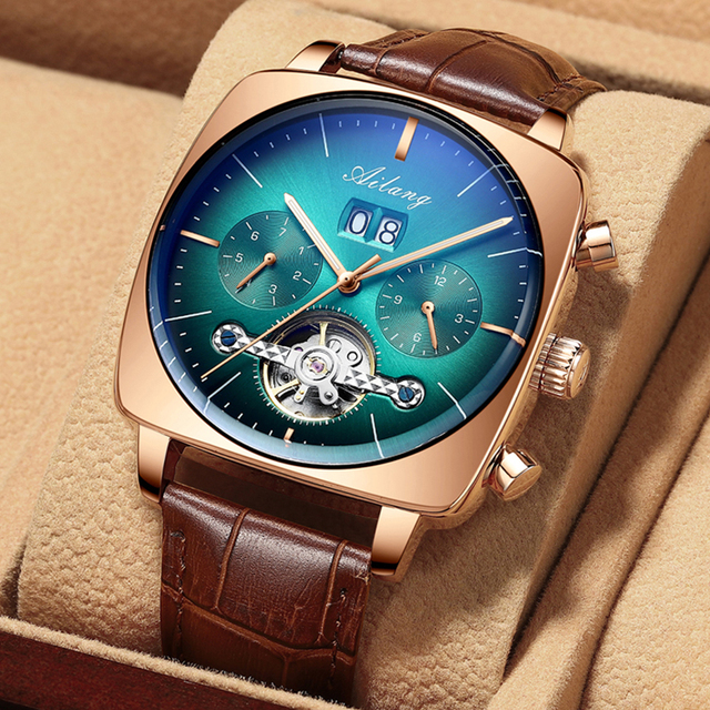 swiss famous brand watch montre automatique luxe chronograph Square Large Dial Watch Hollow Waterproof New mens fashion watches 1