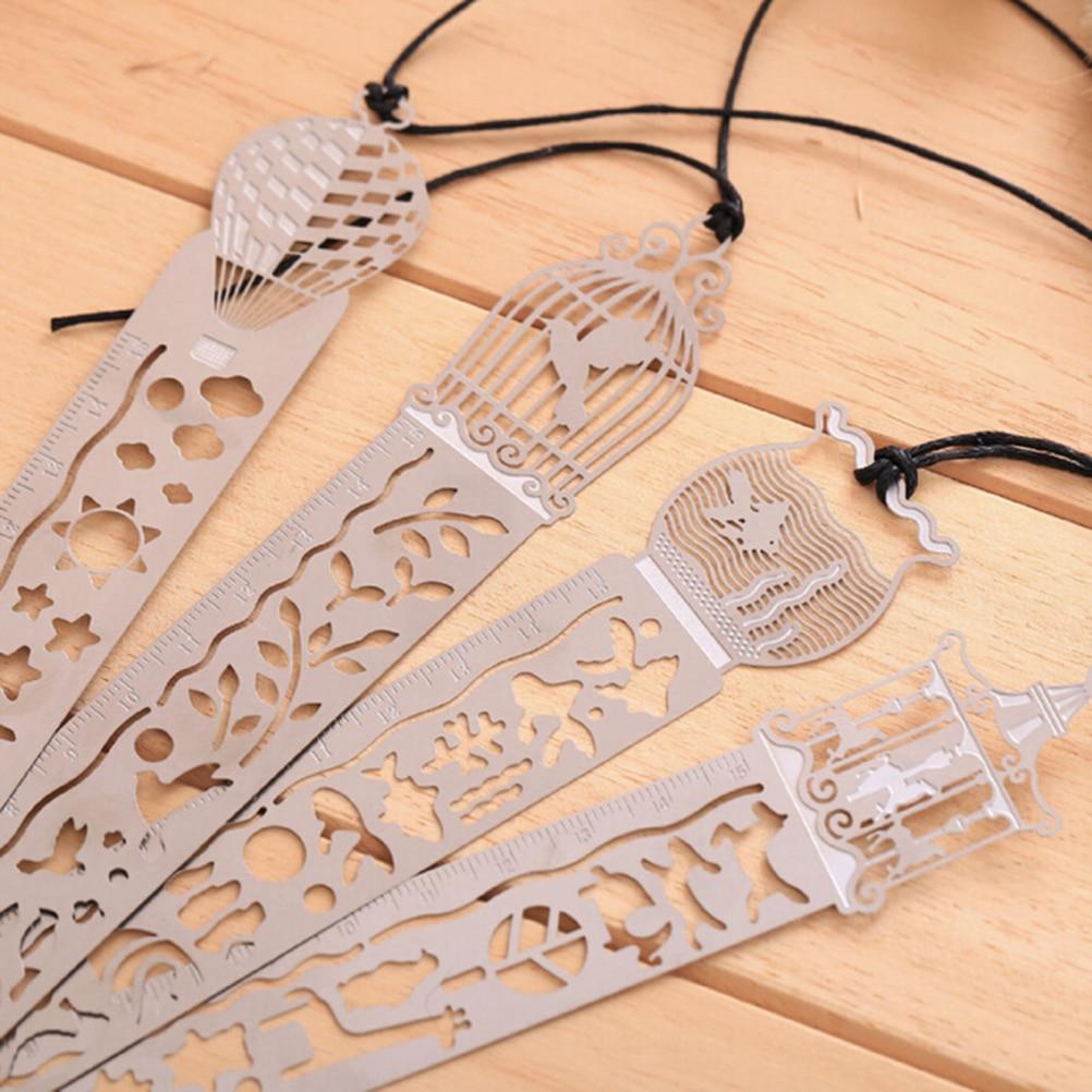 4 Styles Cute Kawaii Creative Horse Birdcage Hollow Metal Bookmark Ruler For Kids Student Gift School Supplies 1pc