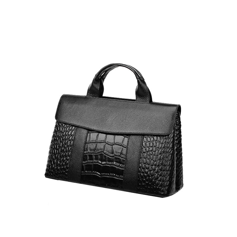 Real Genuine Leather 2019 Fashion Crocodile Handbags For Women Luxury Shoulder Bag OL Business Style Larger Quality Casual Tote