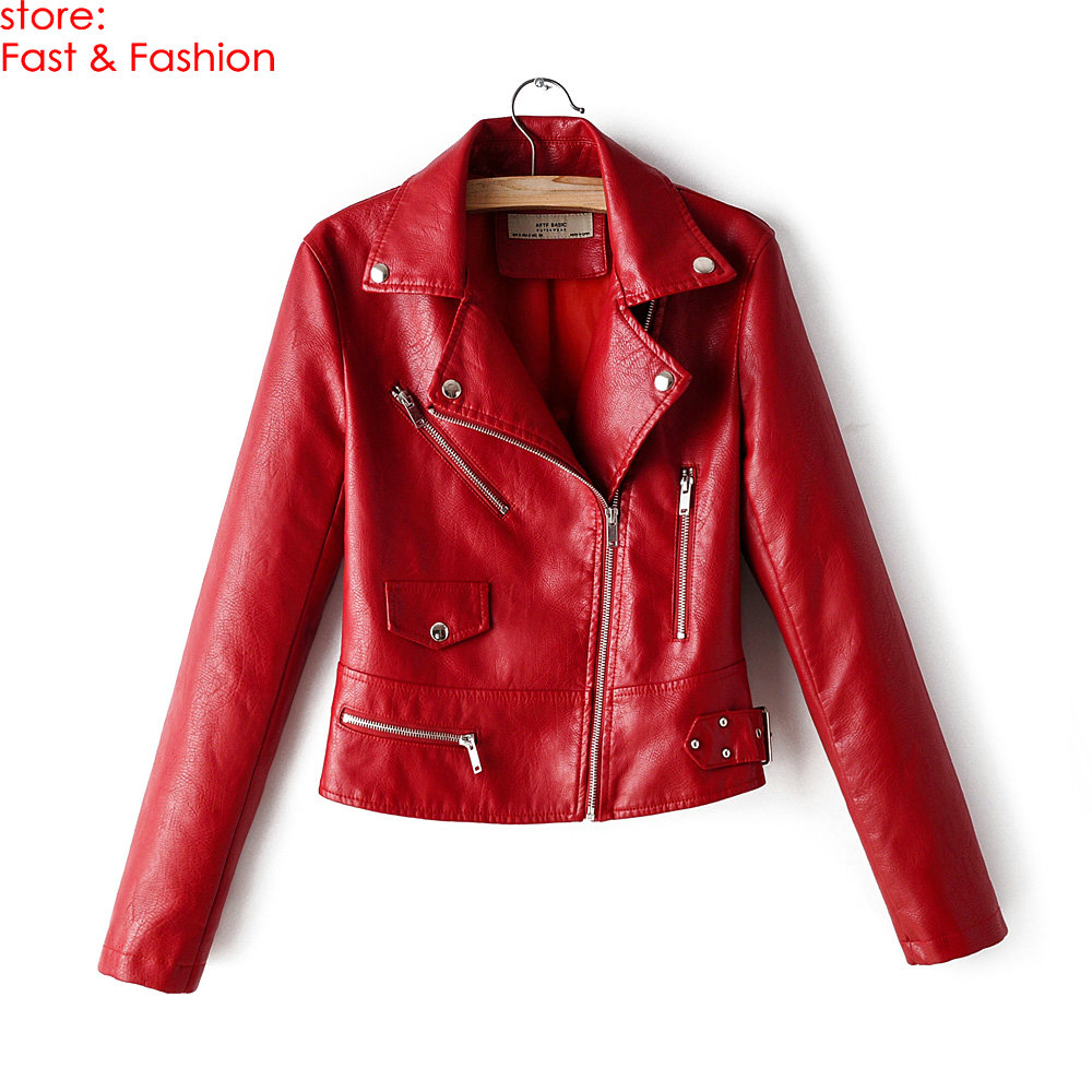2019 New Hot Autumn Winter Women Motorcycle Faux   Leather   Jackets and Coats Lady PU Red Black Revit Zippers Streetwear Outerwear