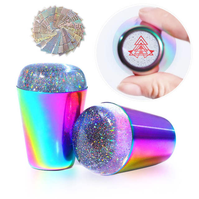 Starry Silicone Stamper Transparent Nail Holographic Stamping Stamp Scraper Polish Print Transfer Manicure Template