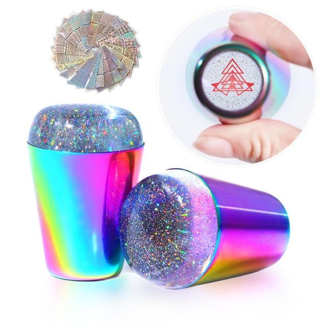 Tampon en Silicone Transparent pour les ongles, timbre holographique, grattoir de vernis, modèle de manucure, transfert dimpressions