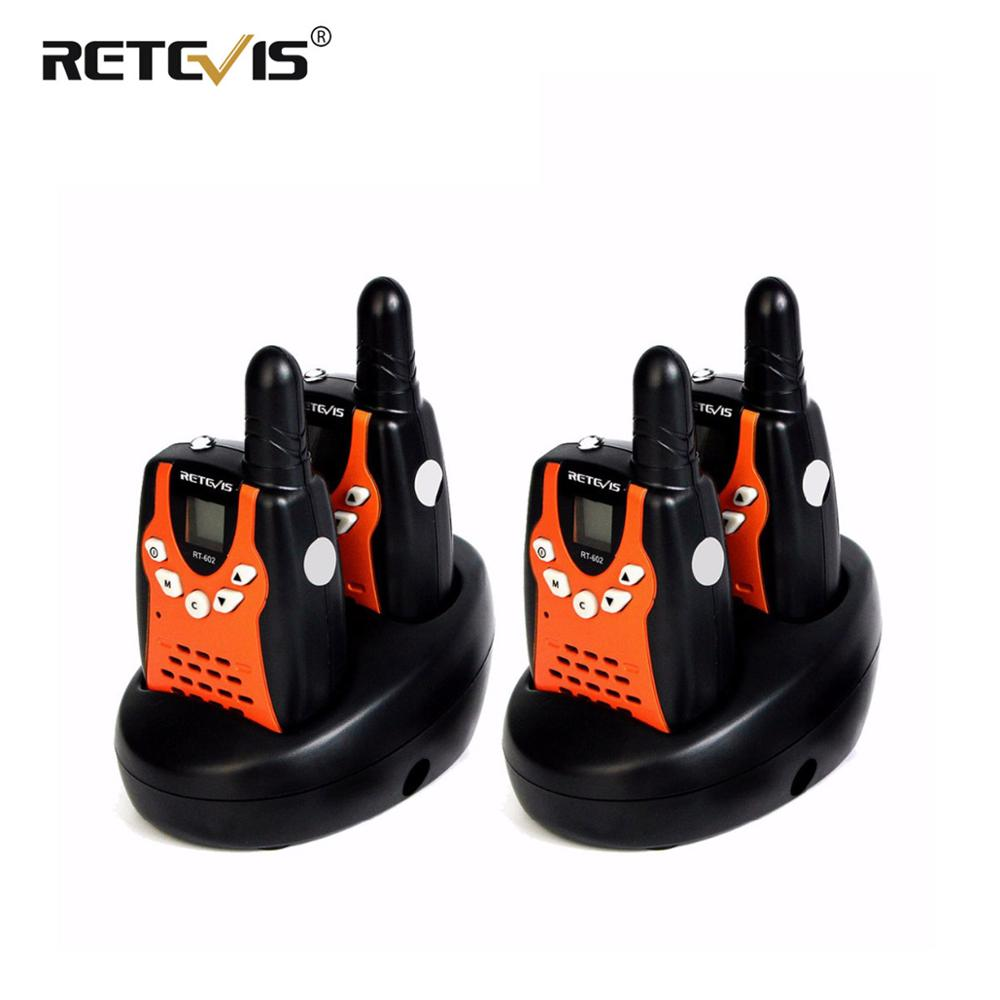 4pcs Retevis RT602 Mini Walkie Talkies Kids Radio 0.5W 8/22CH PMR446 LCD Display Rechargeable Battery 2 Way Radio Communicator
