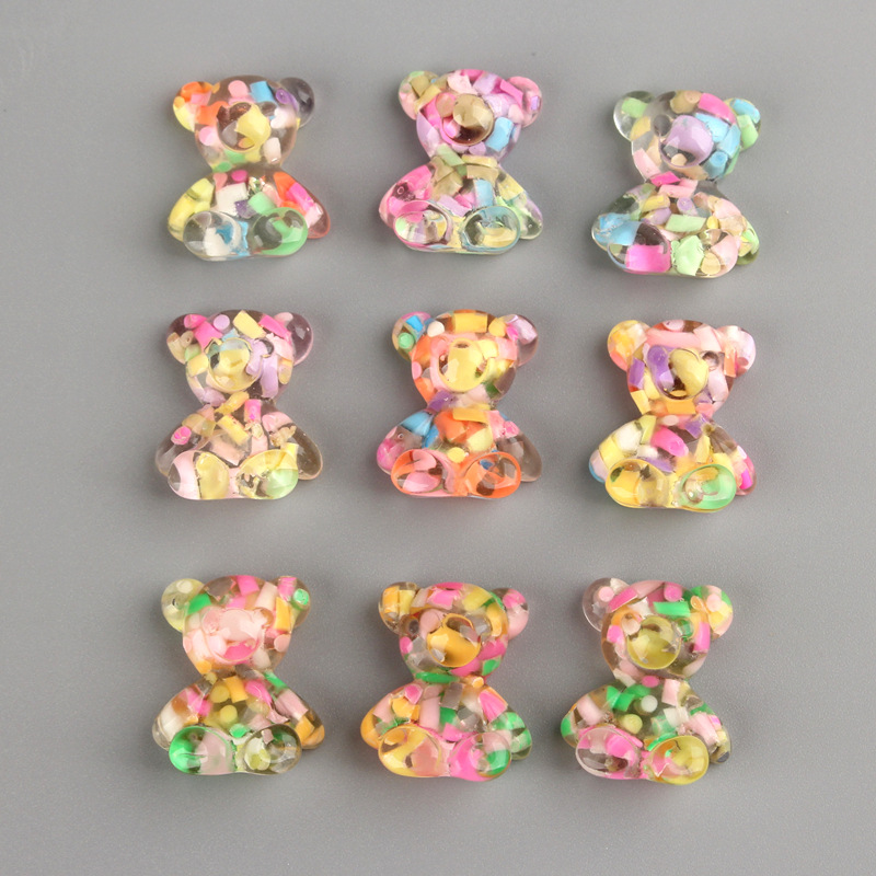 10Pcs Kawaii Cartoon Sprinkle Mini Bear Flat Back Resin Cabochons For Bows Accessories DIY Scrapbooking Decoration Craft 19*22cm