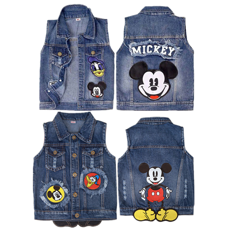 Vest Boy Jacket Mickey Girl Baby Kids Children Denim Summer And Cartoon Spring Fashion