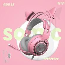 SOMIC G951s G951 Rosa Gaming Headset Per PC Cuffie Gatto cuffie gamer Virtuale 7.1 di Vibrazione LED USB Auricolare per PC