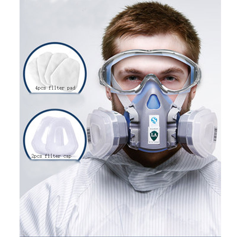 Harmful Gas Mask Respirators Protection Mask Formaldehyde Industrial Chemical Gas Filter Mouth And Nose N95 Dusk Mask Goggle