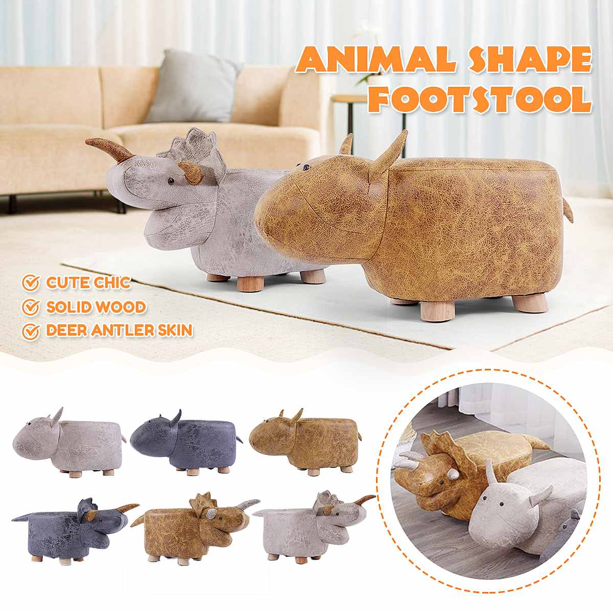 NEW Animal Shape Footstools Sofa Padded Cushion Pouffe Stools Rest Seat Home Kids Bedroom Furniture Decor 56 X 25 X 25 Cm