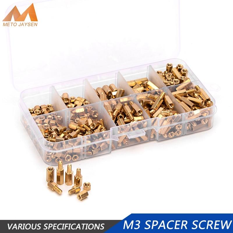 300pcs M3 Male Female Hex Brass Standoff Spacer Screw Spacing Pillar Screws Nut Assortment Kit DIY Tools Computer PC Motherboard