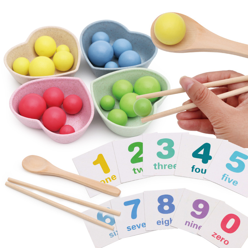 Kids Math Toys Montessori Wooden Toys Clip Beads Practice With Chopsticks Spoon Bowl Color Sorting Educational Toys For Children