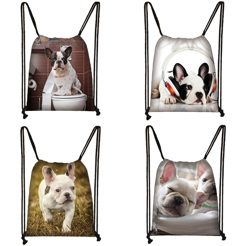 Cute Dog Print Drawstring Bag Women Travel Bag Teenager School Bag Brown Girl And Boy Backpack Fashion Female Storage Bags To280