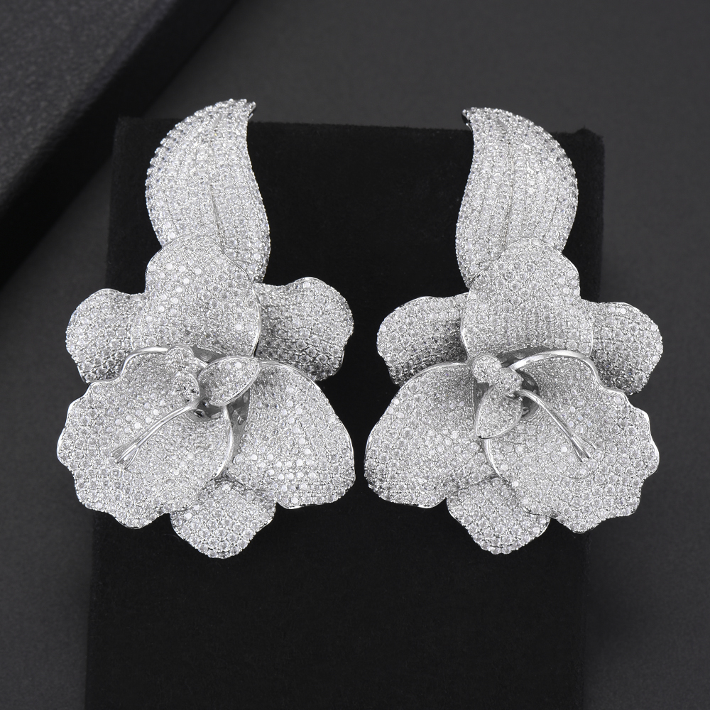LARRAURI luxe pivoine fleur fleur cubique zircone femmes déclaration longue goutte boucle d'oreille de mariage fête nuptiale frangée bijoux cadeau