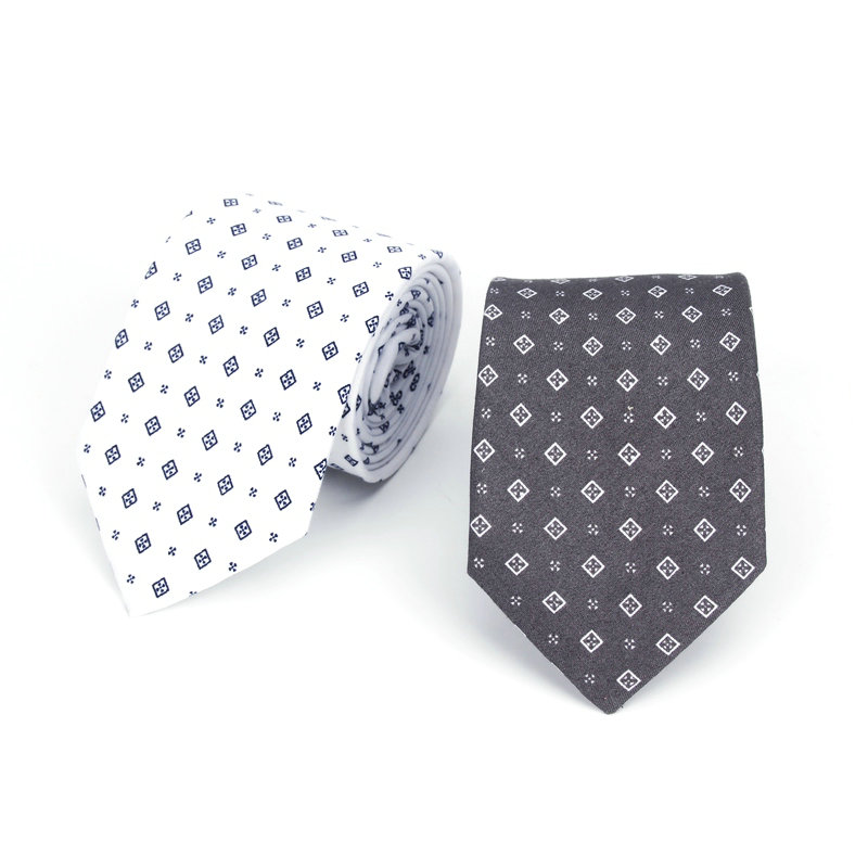 2020 Rrand New Arrival Men's Plaid Casual Vintage Neck Tie For Man Slim Narrow Wedding Neckties 7cm Ties Adults White Gray