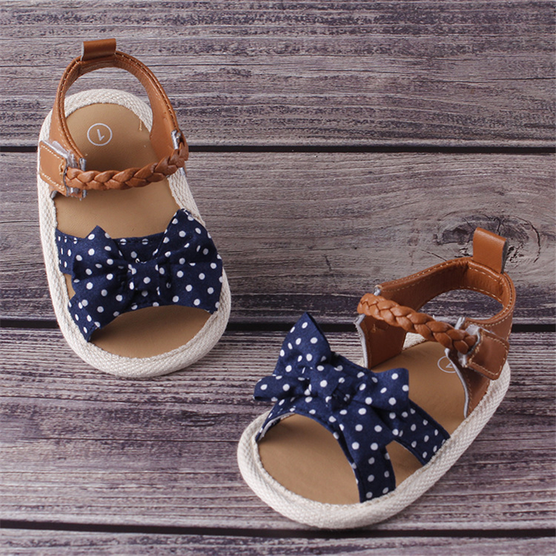 Pudcoco Toddlers Kid Baby Girl Bowknot Polka Dots Sandals Summer Casual Crib Shoes First Prewalker Shoes