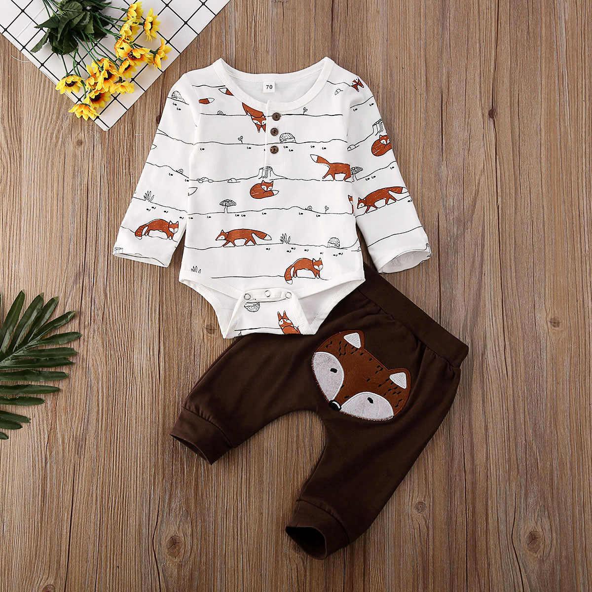 Kami Baru Lahir Bayi Anak Laki-laki Anak Perempuan 0-18M Fox Cetak Baju Romper Celana Panjang Musim Gugur Pakaian Pakaian