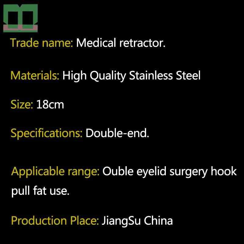 Melengkung Hook Tainless Steel 18 Cm Lemak Retractor Medis Retractor Double-End Alat Bedah untuk Kelopak Mata Operasi