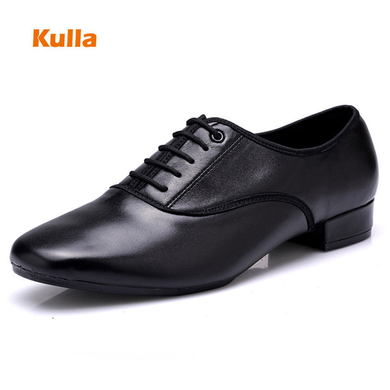 Genuine Leather Men Salsa Latin Dance Shoes Black Soft Sole Outdoor Boy Modern Ballroom Tango Dancing Shoes Size 38-45 Heels 3cm