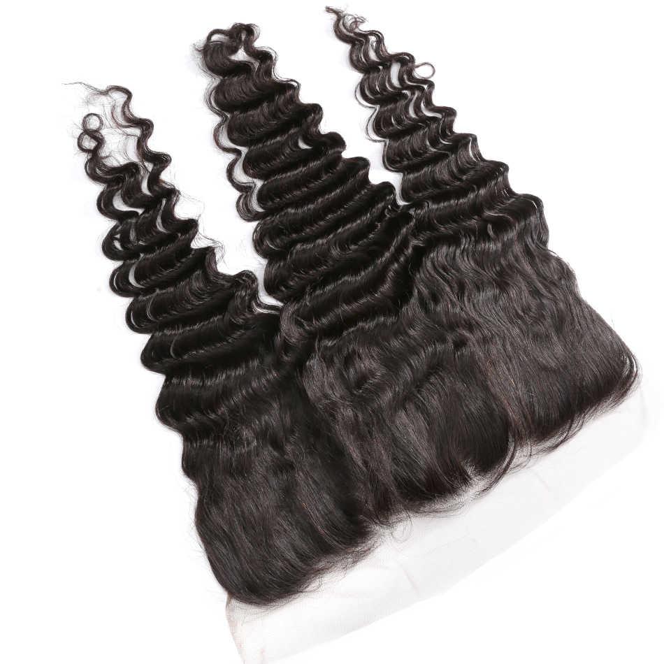 Luvin onda profunda feixes de cabelo brasileiro extensão do cabelo humano 3 pacotes com fechamento frontal onda pacotes com fechamento frontal