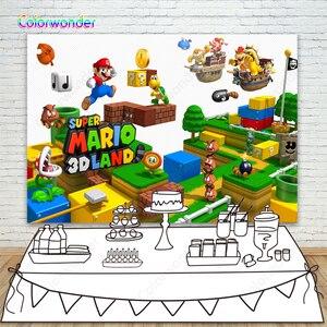 Фото фон Супер Марио Bros декорации к игре дети день рождения украшения поставки фотостудия реквизит Фотофон