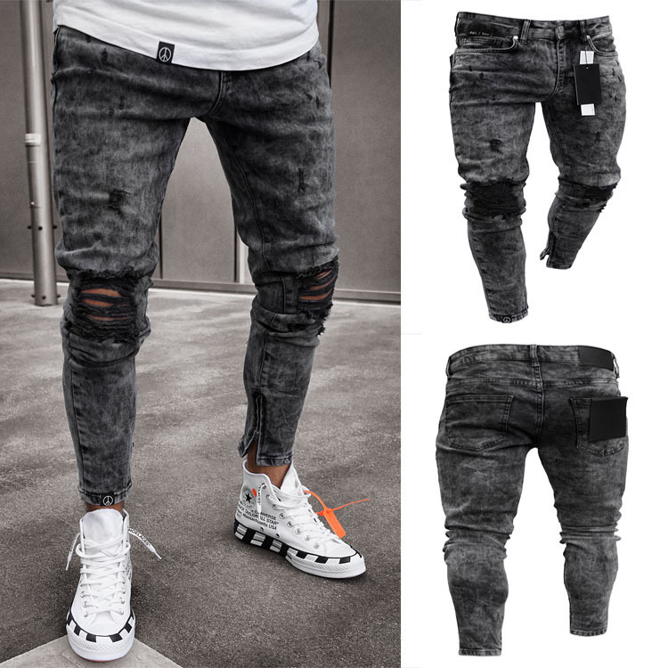 Mens Skinny Stretch Denim Pants Cargo Pleated Ripped Freyed Slim Fit Jeans Camouflage Trousers