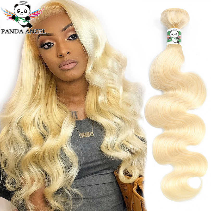 Panda Angel Body Wave 613 Blonde Bundles Remy Brazilian Human Hair Weave Extensions 1/3/4 pcs Blonde Hair Weave Bundles 8-28Inch