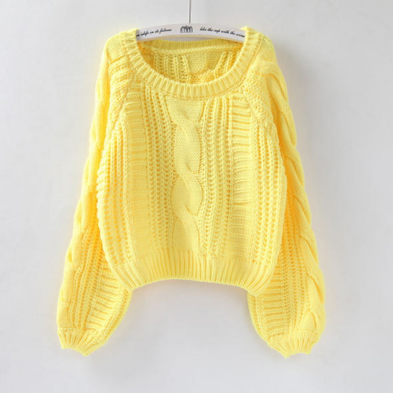 2019 Women Pull Sweaters Warm Pullover And Jumpers O Neck Yellow Sweater Jumpers Chic Short Sweater Twisted Pull