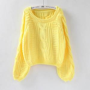 Short Sweater Jumper Pull-O-Neck Twisted Candy-Color Chic Women Harajuku