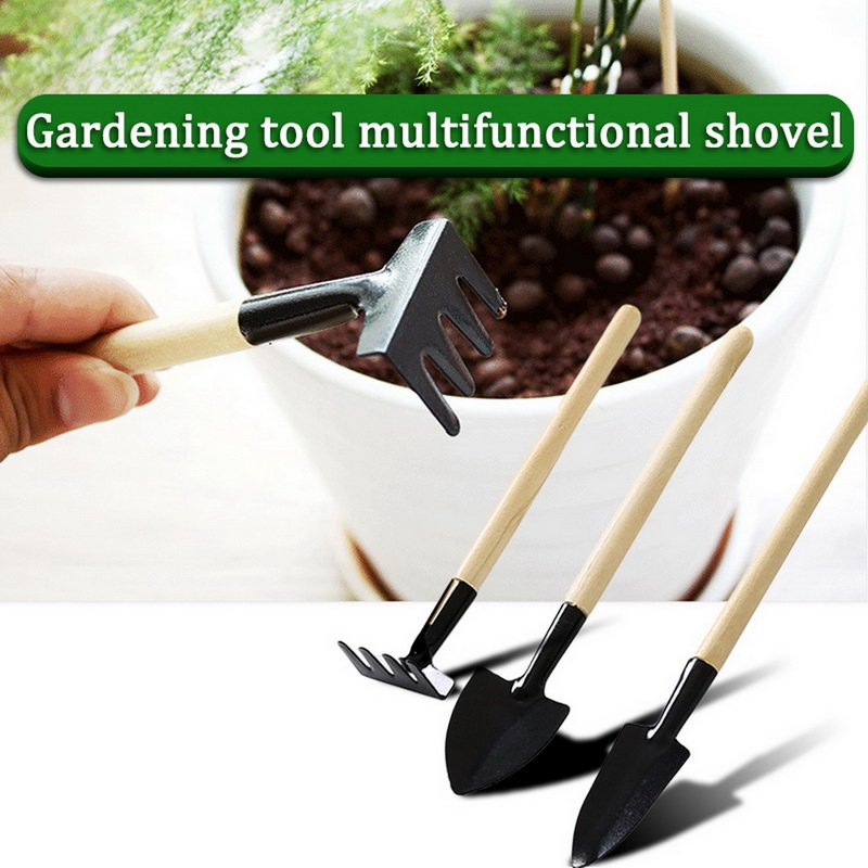 3pcs/Set Mini Gardening Tools Wood Handle Stainless Steel Potted Plants Shovel Rake Spade for Flowers Potted Plant Metal Head