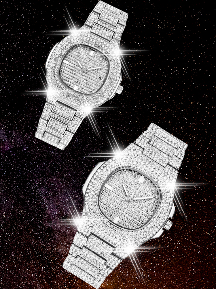 Mens Watches Clock Diamond Iced-Out Women New Free Quartz for Female Hip-Hop Femme