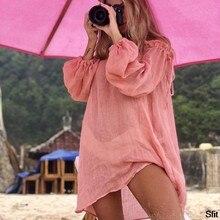 2020 sukienka na plażę Cover Up Fashion Swim Cover-Up z długim rękawem stroje kąpielowe na ramię Bikini kobiety Cover Up tunika
