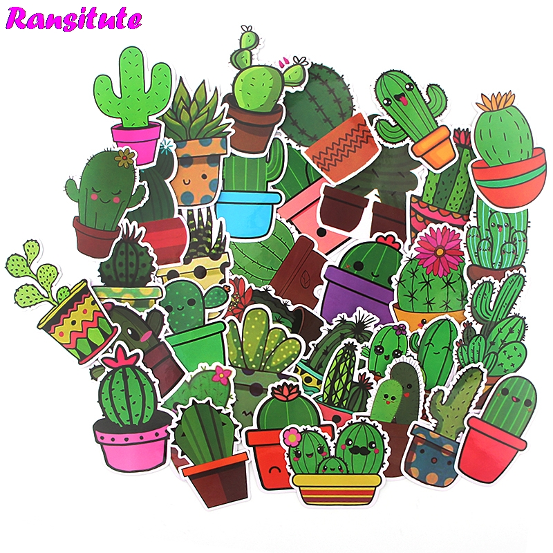 36pcs/set Cactus Sticker Waterproof Mobile Phone Car Label Decoration Stationery Sticker DIY Diary Album Toy Sticker R506
