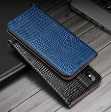Capa de couro genuíno padrão de lagarto para iphone xs max 7 8 plus xr ckhb hz suporte de cartão caso de telefone para galaxy s10 plus note9