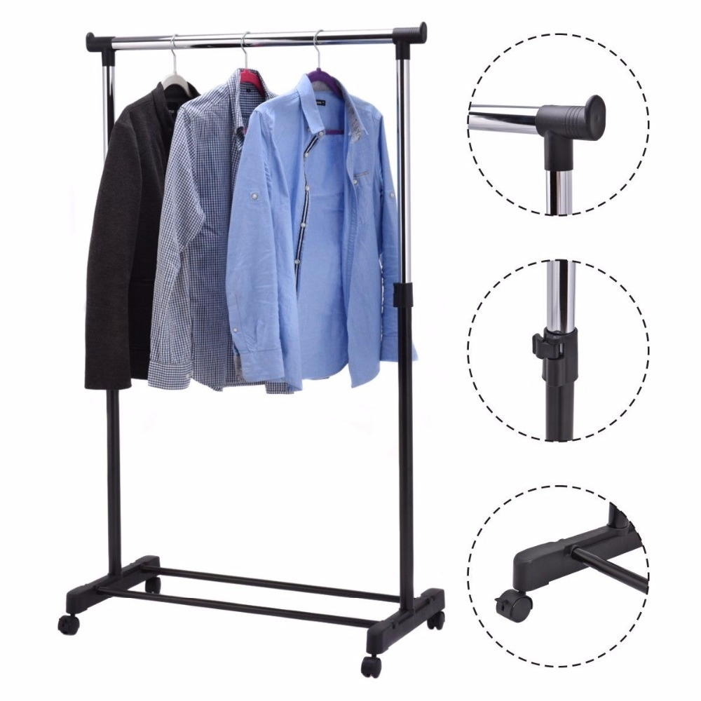Portable Adjustable Rolling Clothes Hanger Coat Rack Floor Hanger Storage Wardrobe Clothing Drying Racks With Shoe Rack HW53829