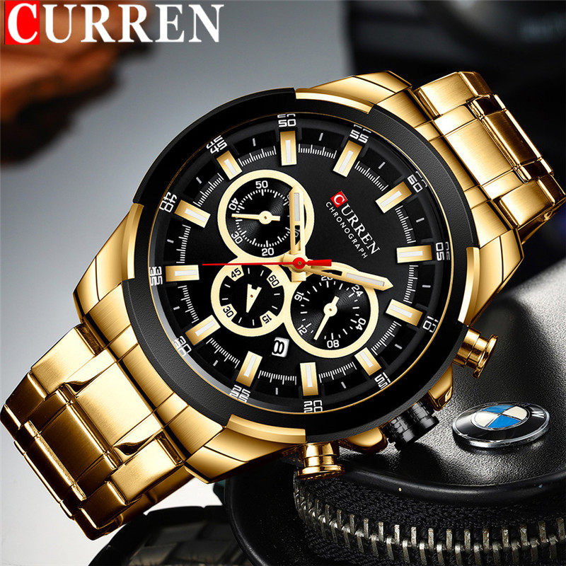 Image 1 - CURREN Man WristWatch Waterproof Chronograph Men Watch Military Top Brand Luxury Gold New Stainless Steel Sport Male Clock 8361Quartz Watches   -