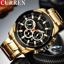 CURREN رجل ساعة اليد مقاوم للماء كرونوغراف الرجال ساعة العسكرية العلامة التجارية الفاخرة الذهب جديد الفولاذ المقاوم للصدأ الرياضة ساعة الذكور 8361