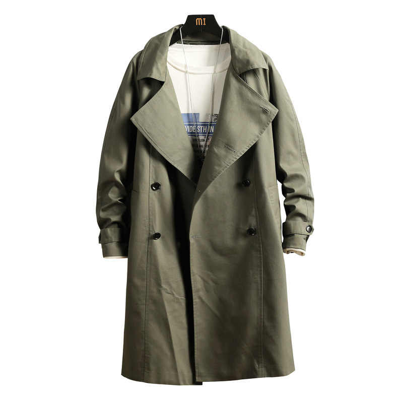Nieuwe Double Breasted Trenchcoat Mannen Jas Overjas Casual Mannen Windbreakers Effen Kleur Lange Losse Herfst Mode Dakgoten