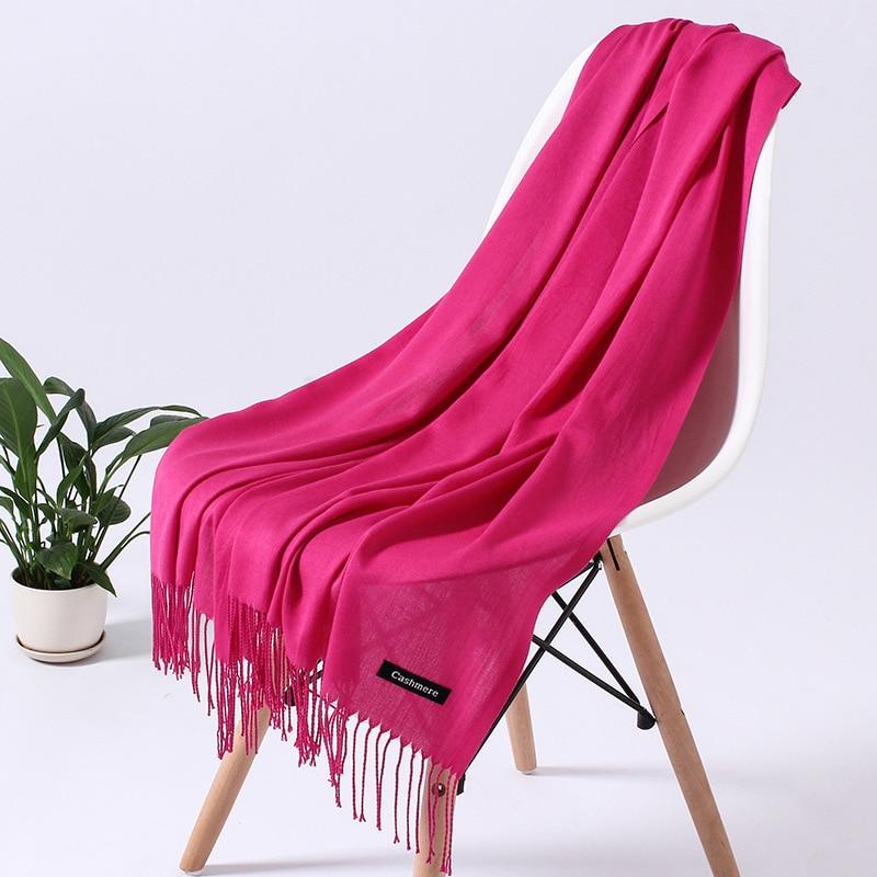 Однотонный кашемировый шарф для женщин новые длинные мягкие шали и палантины пашмины модные хиджаб с кисточками женские шейные шарфы - Цвет: 110g rose