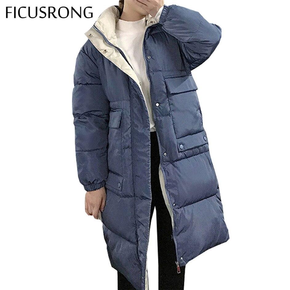 Повседневные женские пальто с капюшоном длинные пальто парка негабаритная цветная куртка средней длины женская зимняя Толстая куртка пуховик женская зимняя