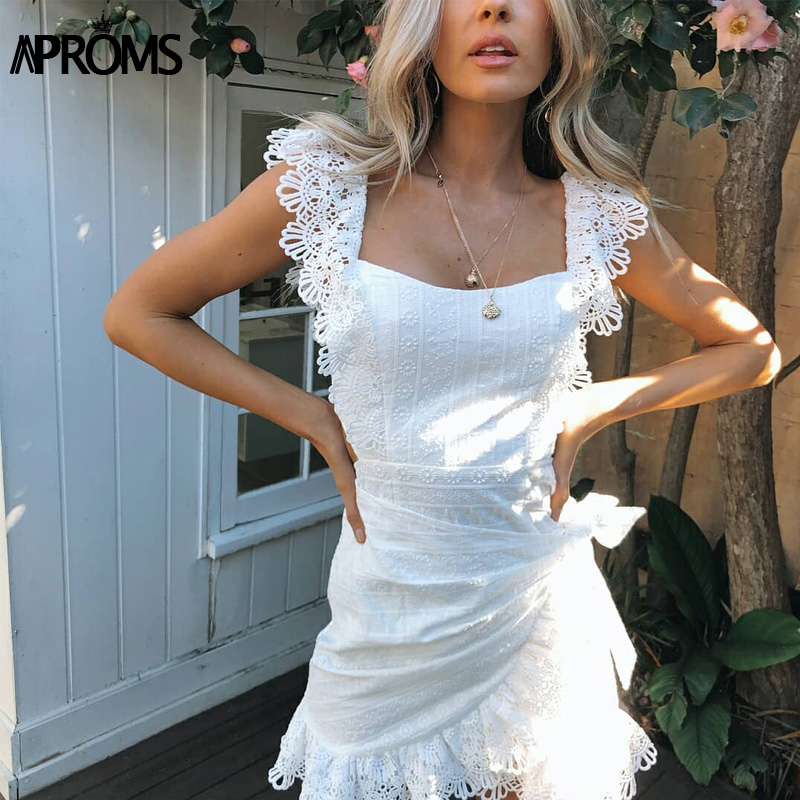Aproms Elegant White Lace Crochet Short Dress Women 2020 Summer Sexy Bow Tie Backless Bodycon Party Dresses Sundresses Vestidos 4
